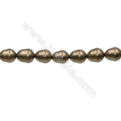 Shell Pearl Teardrop Beads Bronze Beads Strand   Size 12x15mm Hole 0.8mm 28pcs/strand 15~16""