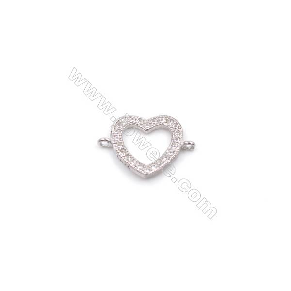 Platinum plated 925 silver zircon micro pave bracelet necklace connector for jewelry making  Heart  9x12mm  x 1pc  hole 0.8mm