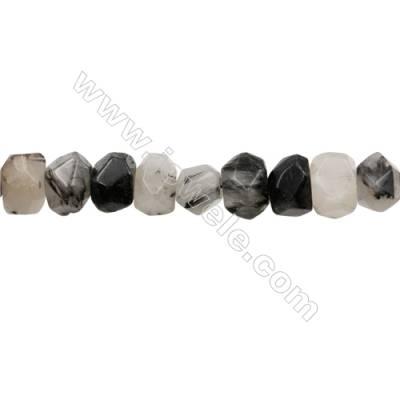 "Black Rutile Quartz Beads Strand   Cylindrical(faceted)  Size 12x16mm Hole 1.0mm 32pcs/strand 15~16"""