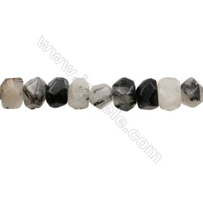 Black Rutile Quartz Beads Strand   Cylindrical(faceted)  Size 12x16mm Hole 1.0mm 32pcs/strand 15~16""