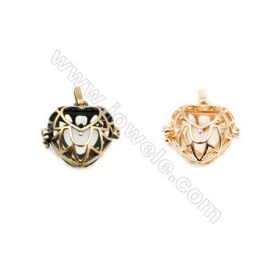 Brass Pendant Brass Plated Gold (Glod Bronze)  Size 21x22mm  Hole 18x18mm  10pcs/pack