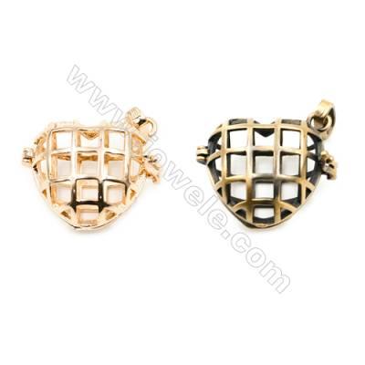 Brass Pendant Brass Plated Gold (Glod Bronze)  Size 22x22mm  Hole 19x20mm  10pcs/pack