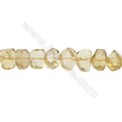 Natural Lemon Quartz Beads Strand  Cylindrical(Faceted)  Size 14x19mm Hole 1.0mm 28pcs/strand 15~16""