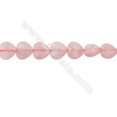 Natural Rose Quartz Beads Strand   Heart (Faceted)  Size 14x14mm Hole 0.8mm 30pcs/strand 15~16""
