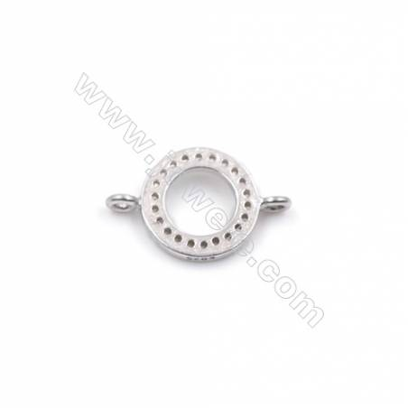 Wholesale round platinum plated 925 silver zircon micro pave bracelet necklace connector for jewelry making-BS7464 9mm x 1pc
