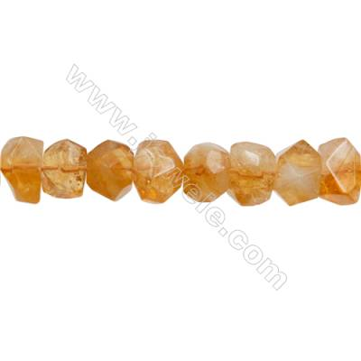 Natural Citrine Beads  Cylindrical(Faceted)  Size 17x18mm Hole 1mm 30pcs/strand 15~16""