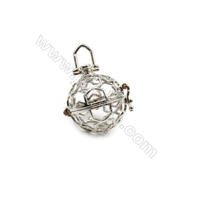Brass Pendant Brass Plated Silver Round Diameter 21mm  Hole 18mm  10pcs/pack