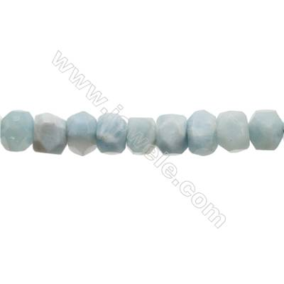 Natural Aquamarine Beads Strand  Cylinder(Faceted)  Size 12x15mm  Hole 1.0mm  33pcs/strand 15~16""