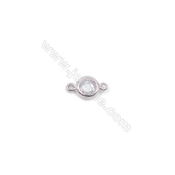 Platinum plated 925 silver zircon micro pave bracelet necklace connector for jewelry making  5mm x 1pc  hole 0.8mm