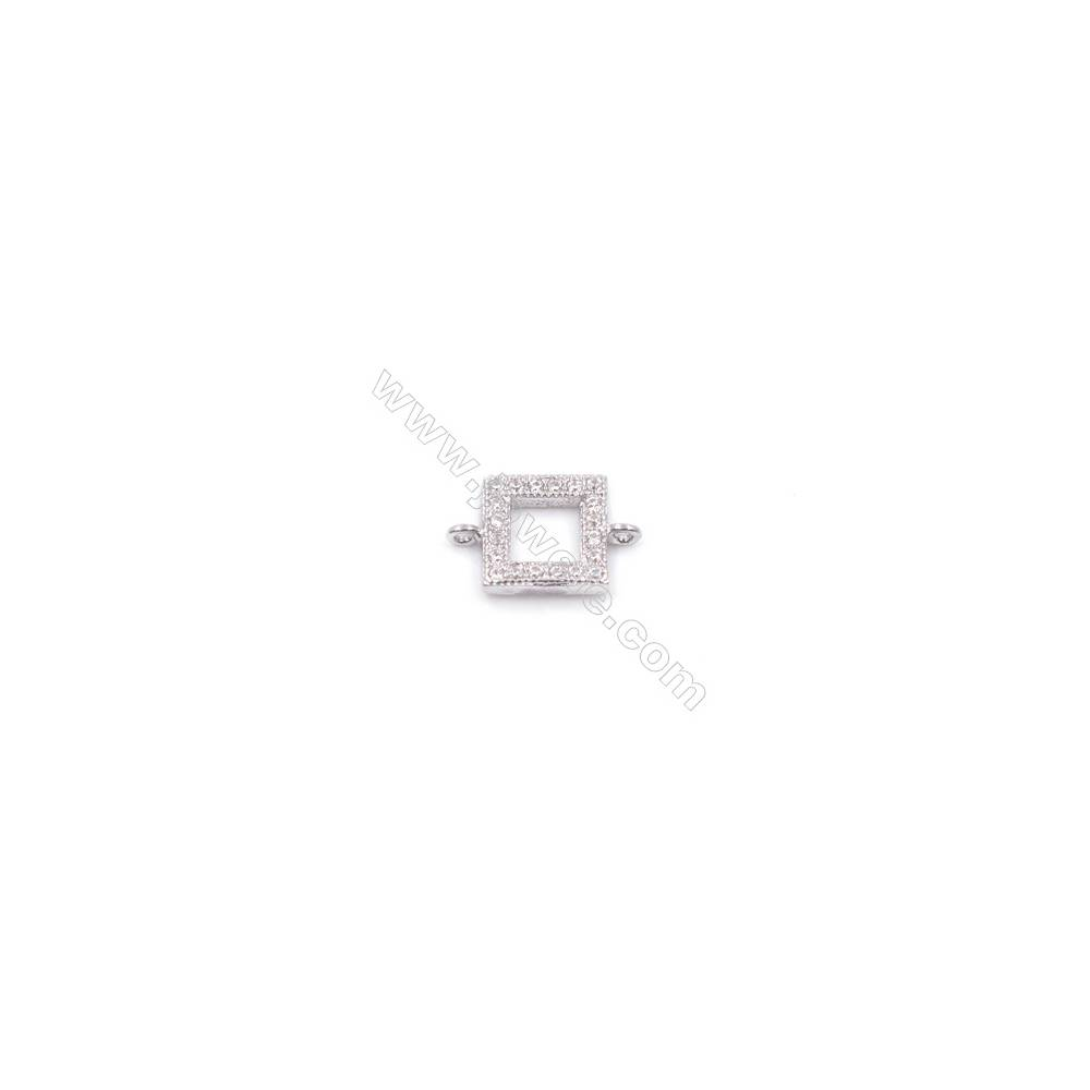 Square designed platinum plated 925 sterling silver connector with zircon micro paved jewelry findings  6mm x 1pc  hole 0.8mm
