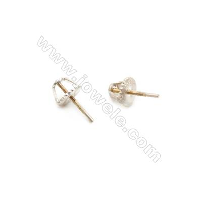 925 Sterling Silver Earring Stud  Size 6x11mm  Pin 0.85mm  12pcs/pack