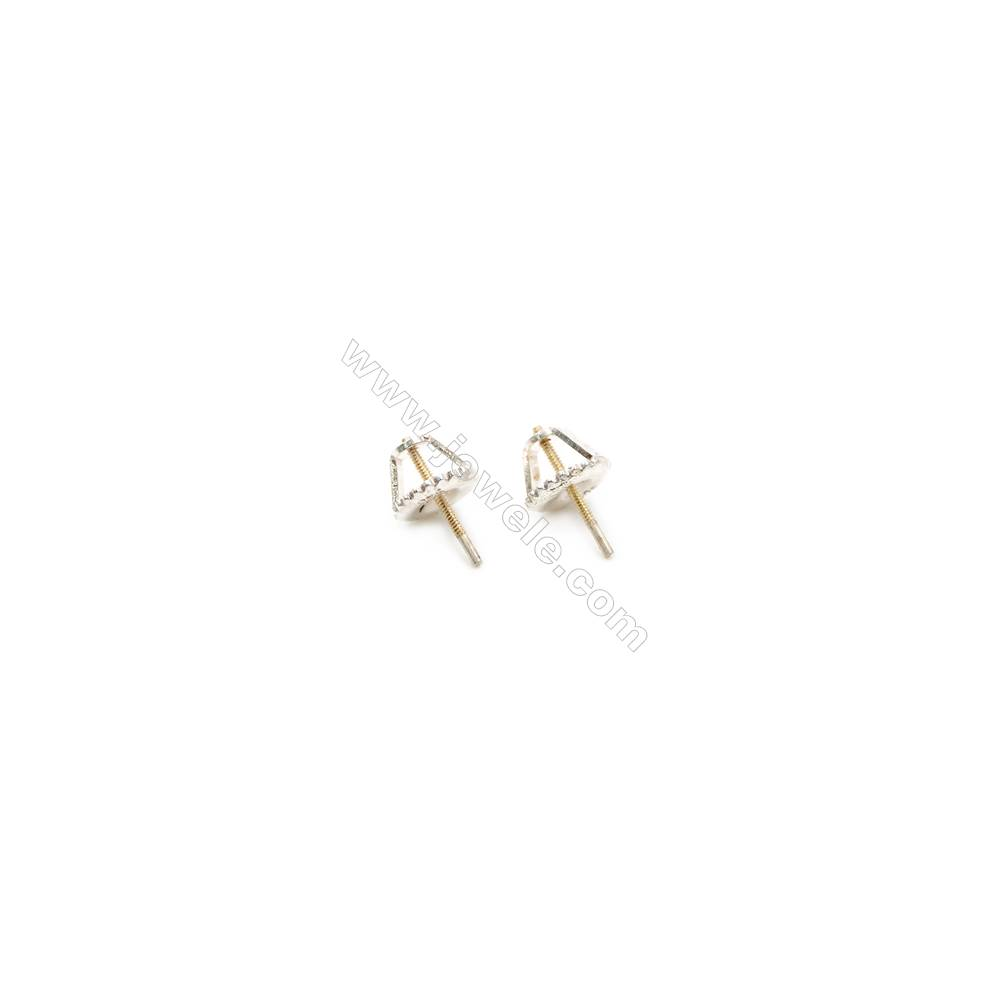 925 Sterling Silver Earring Stud  Size 7x11mm  Pin 0.85mm  12pcs/pack