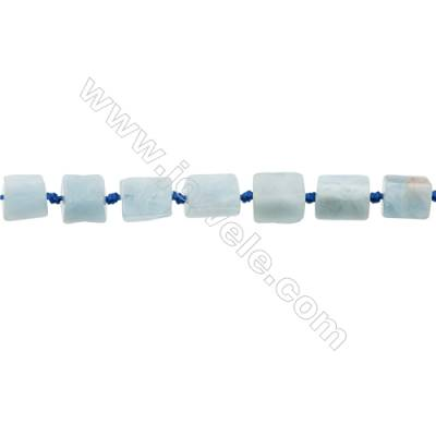 Natural Aquamarine Beads Strand  Irregular Rectangle   Size 10x13mm  Hole 0.8mm  29pcs/strand 15~16""