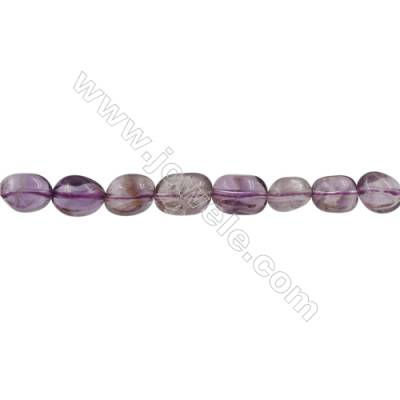 Natural Amethyst Beads Strand  Irregular Oval Size 9x10mm  Hole 0.8mm  36pcs/strand  15~16""