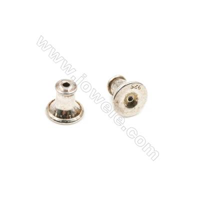 925 Sterling Silver Earnuts  Size 5.8x6mm  Hole 0.3mm  30pcs/pack