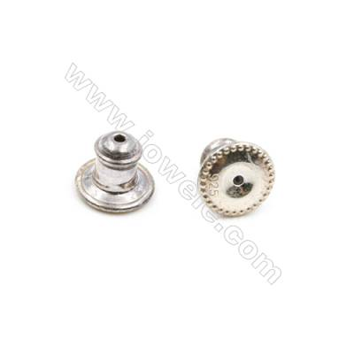 925 Sterling Silver Earnuts  Size 7x8mm  Hole 0.3mm  10pcs/pack
