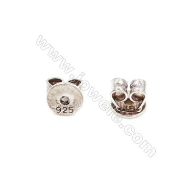 925 Sterling Silver Earnuts  Size 4x4.5mm  Hole 0.8mm  40pcs/pack
