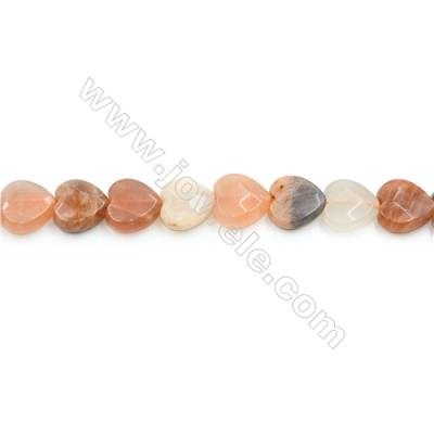 Mixed Moonstone Beads Strand  Heart (Faceted)   Size 12x12mm  Hole 0.8mm  34 pcs/strand  15~16""