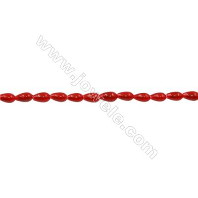 Shell Pearl Teardrop Beads Strand  Red  Size 3x6mm  Hole 0.6mm  71pcs/strand  15~16""