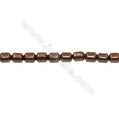 Shell Pearl Brown Beads Strand  Barrel  Size 7x9mm  Hole 0.8mm  45pcs/strand  15~16""