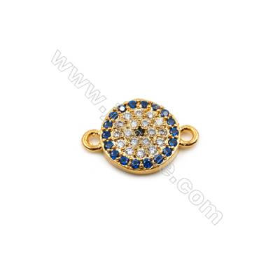 Brass Plated Gold Connector, CZ Micropave, Round, Diameter 9mm, Hole 0.8mm, 15pcs/pack