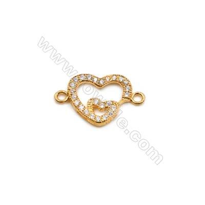 Brass Plated Gold Connector, CZ Micropave, Heart, Size 12x19mm, Hole 1.5mm, 15pcs/pack