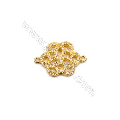 Brass Plated Gold Connector, CZ Micropave, Flower, Size 14x20mm, Hole 1.0mm, 10pcs/pack