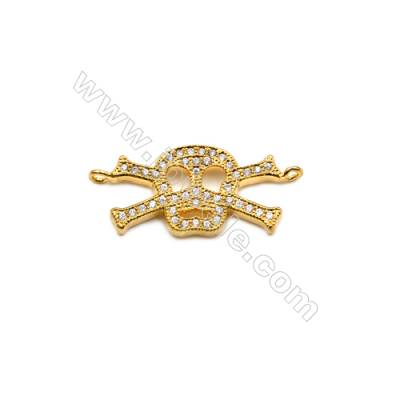 Brass Plated Gold Connector, CZ Micropave, Skull, Size 12x28mm, Hole 1.5mm, 8pcs/pack