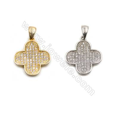 Brass Pendant  CZ Micropave (Gold Platinum)Plated  Flower  Size 15x15mm  8pcs/pack