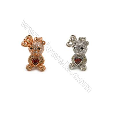 Brass Pendant  CZ Micropave (Ross Gold Platinum)Plated  Doll  Size 15x23mm  5pcs/pack