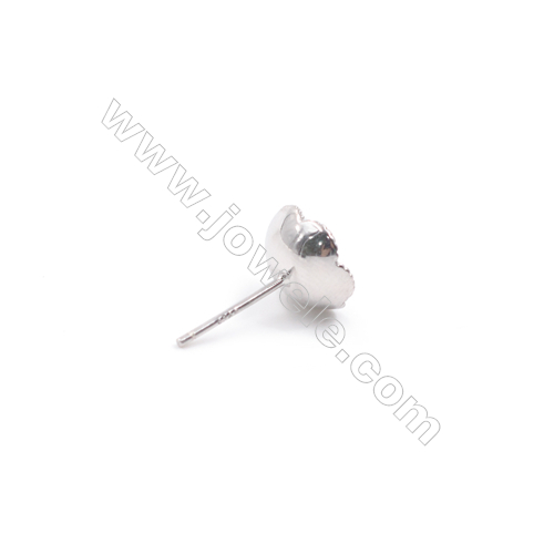 Platinum filled 925 sterling silver zircon ear stud findings for half drilled beads jewelry making  Stamen  10mm x 1pair