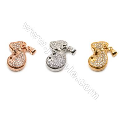 Brass Pendant  CZ Micropave (Gold Ross Gold Platinum)Plated  Size 14x21mm  6pcs/pack