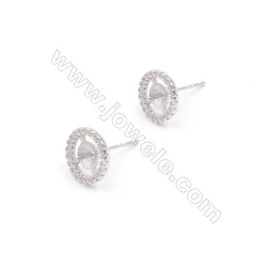 Platinum filled 925 sterling silver zircon ear stud findings for half drilled beads jewelry making  Little gear  9mm x 1pair