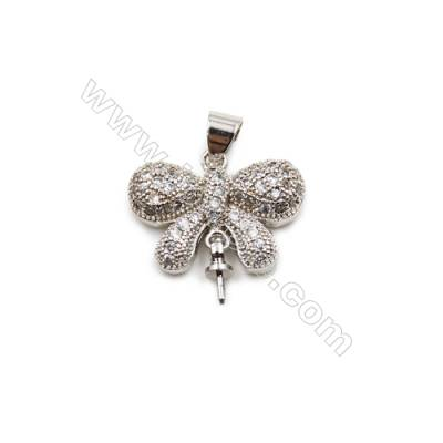 Brass Plated Platinum Pendant  CZ Micropave  Butterfly Size 14x18mm Tray 2.8mm  Pin 0.85mm  8pcs/pack