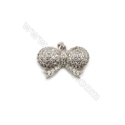 Brass Plated Platinum Pendant  CZ Micropave  Butterfly Size 15x22mm  6pcs/pack