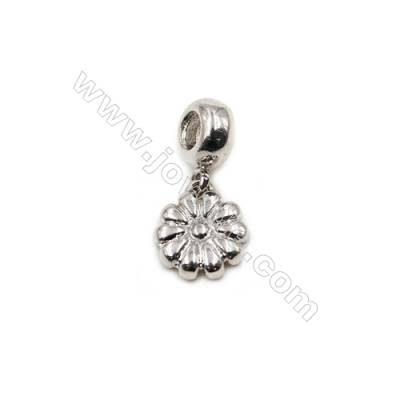 Brass Plated Platinum Pendant  Flower  Diameter 11mm  20pcs/pack