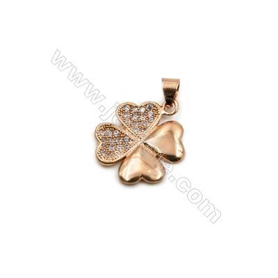 Brass Plated Ross Gold Pendant  CZ Micropave  Flower  Size 17x17mm  10pcs/pack