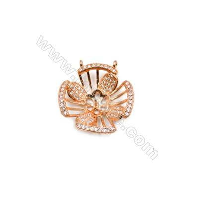 Brass Plated Ross Gold Pendant  CZ Micropave  Flower  Size 20x22mm Tray 8mm  Pin 0.68mm  6pcs/pack