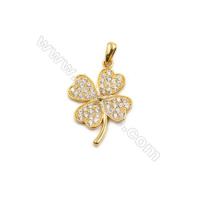 Brass Plated Gold Pendant  CZ Micropave  Flower  Size 18x25mm  8pcs/pack