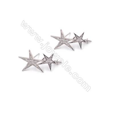 Platinum filled 925 sterling silver zircon ear stud findings for half drilled beads jewelry making  Star  15x24mm x1pair