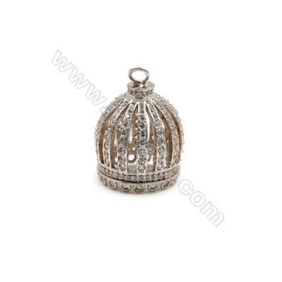 Brass Plated Platinum Pendant  CZ Micropave  Crown  Size 16x18mm  5pcs/pack