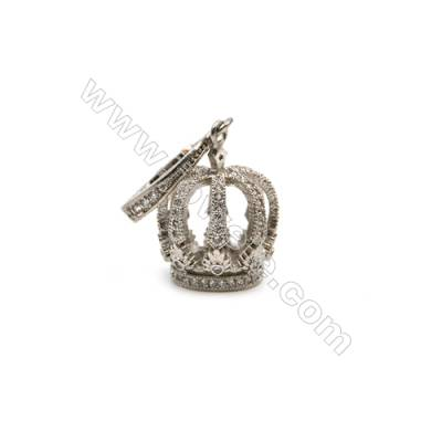 Brass Plated Platinum Pendant  CZ Micropave  Crown  Size 12x13mm  4pcs/pack
