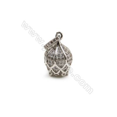 Brass Plated Platinum Pendant  CZ Micropave  Crown  Size 12x18mm  6pcs/pack