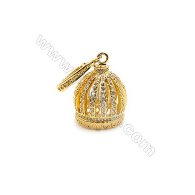 Brass Plated Gold Pendant  CZ Micropave Crown  Size 17x22mm  5pcs/pack