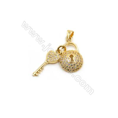 Brass Plated Gold Pendant  CZ Micropave  Key and Lock  Size 12x20mm  8pcs/pack