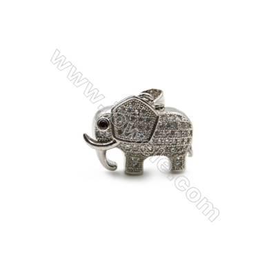 Brass Plated Platinum Pendant  CZ Micropave  Elephant  Size 17x22mm  10pcs/pack