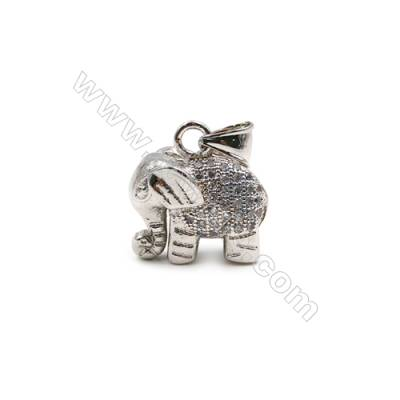 Brass Plated Platinum Pendant  CZ Micropave  Elephant  Size 19x20mm  8pcs/pack