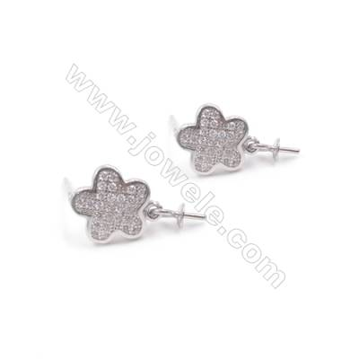 Platinum filled 925 sterling silver zircon ear stud findings for half drilled beads jewelry making  Flower  9mm x1pair