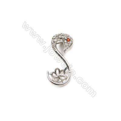 Brass Plated Platinum Pendant  CZ Micropave  Animal  Size 12x26mm Tray 6mm  Pin 1.0mm  10pcs/pack