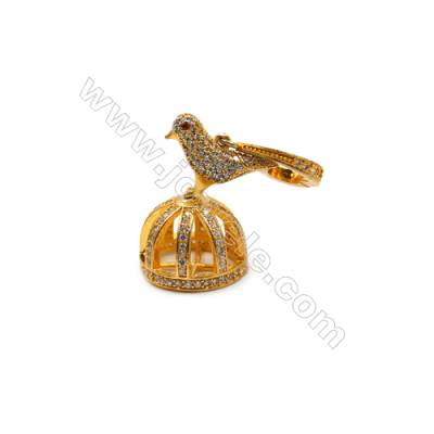 Brass Plated Gold Pendant  CZ Micropave  Birdie  Size 21x25mm  3pcs/pack